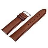 12/14/16/18/20/22/24 mm Bande de bracelet montre Bracelet cuir Remplacement boucle Wrist Watch Deployante Brun