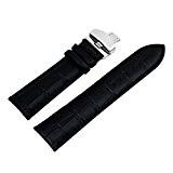 18/20/22/24 mm Bande de montre Bracelet cuir Remplacement Boucle Wrist Watch Strap Deployante Noir