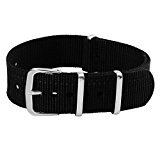 18/20/22mm Bande Bracelet de Montre Homme Femme Remplacement Wrist Watch Deployante Strap Variation Nylon Boucle Inox Noir