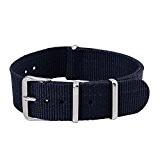 18/20/22mm Bande Bracelet de Montre Homme Femme Remplacement Wrist Watch Deployante Strap Variation Nylon Boucle Inox Bleu
