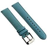 20mm bande de montre en cuir de buffle véritable sangle rembourrée pour homme Mesdames SS Boucle Bleu ciel/Blanc