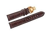 22mm marron bracelets de montres en cuir de remplacement de luxe / bandes faits à la main avec coutures blanches ...