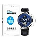 [3 Pièces] Huawei Watch Classic/Active/Elite Film en Verre Trempé, OMOTON Protection D'écran Ultra Résistant et Ultra Clair pour Huawei Watch(1.4 ...