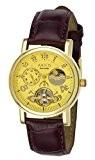 Aatos AdelaLGG montre pour homme automatique possédant un boîtier en métal plaqué or et un bracelet en cuir