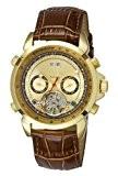 Aatos AgabusLGG montre pour homme automatique possédant un boîtier en acier inoxydable plaqué or et un bracelet en cuir