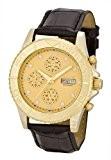 Aatos KaranisLGG montre pour homme automatique possédant un boîtier en métal plaqué or et un bracelet en cuir