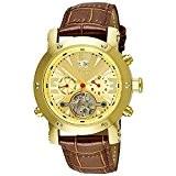Aatos PrinosLGG montre-bracelet pour homme automatique possédant un boîtier en acier inoxydable plaqué or et un bracelet en cuir