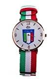 ACC Montre à quartz analogique avec bracelet en tissu aux couleurs de l'Italie