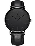 Alienwork IK All Black Montre quartz élégant quartz mode Design intemporel classique Cuir noir 98469L-03