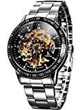 Alienwork IK Montre automatique Squelette mécanique Acier inoxydable noir argent 98226-14