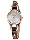 Alienwork Montre quartz bracelet chaîne emballage quartz vintage Or rose Cuir blanc brun YH.KW545G-03