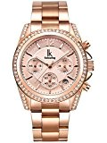 Alienwork Montre quartz multifonction quartz mode strass Métal or rose or rose K001GA-03