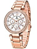 Alienwork Montre quartz nacre quartz Or rose strass Métal blanc or rose K002GA-03