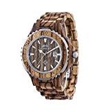 AMEXI La main montre-bracelet en bois naturel pour les hommes avec zebrawood brun