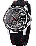 AMPM24 Montre Mécanique Automatique Squelette Carre Sportive Bracelet Caoutchouc Homme Noir PMW081