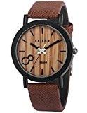 AMPM24 - WAA775 - Montre Homme - Analogique - Quartz - Cadran en Grain de Bois - Bracelet Marron