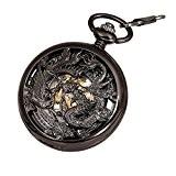 Antique Mécanique Montre de poche Chanceux Dragon & Phoenix (meilleurs voeux) Cadran squelette avec chaîne pour les Hommes Femmes + ...