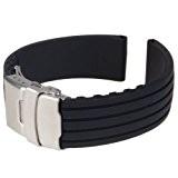 Bande / Bracelet / Chaîne de Montre en Caoutchouc de Silicone Etanche à Boucle Déployante 22mm - Noir