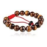 Beauty7 Ethnique Tibetain Bracelet Extensible 17 Pierre Naturelle Jaune Oeil de Tigre 10mm - Cordon Trisse et Noeud Chinois - ...