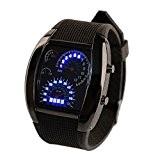 Beauty7 Montre Bracelet Unisexe Bleu Binaire LED Lumiere Digital Automatique Matricielle Voiture Compteur Cadran Aviation avec Date Semaine