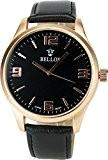 BELLOS - Montre Homme NOIR OR Quartz Acier Elégant Sport Mode Bracelet NOIRSIMILI CUIR
