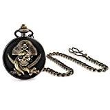 Bling Jewelry ancien pirate Tête de mort noir des hommes de montre de poche