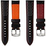 Bracelet de Montre Geckota® en Cuir Véritable Italien, Sport et Perforé, Qualité et Confort, 20mm 22mm ou 24mm
