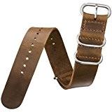 Bracelet de montre ZULUDIVER® cuir véritable Militaire ZULU Marron 22mm