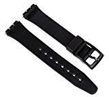 Bracelet de remplacement en plastique pour montre Swatch 17mm Noir