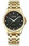 CIVO Montre pour Homme Bande de Acier Inoxydable Etanche Montres Bracelet Simple Désign Classique Mode Luxe Décontractée Montre Bracelet à ...