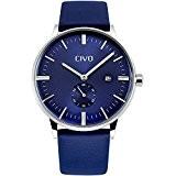 CIVO Montres Hommes Simple Désign Bande de Marron Cuir Bleu Montre Bracelet Homme Classique Mode Robe Montres Bracelet à Quartz ...