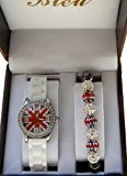 COFFRET MONTRE ENFANT ADO LONDON LONDRES + BRACELET SHAMBALLA UNION JACK