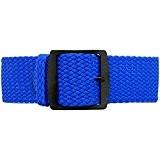 daluca Câbles en nylon tressé montre sangle–BLEU (PVD Boucle): 24mm