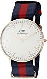 Daniel Wellington - 0501DW - Oxford - Montre Mixte - Quartz Analogique - Cadran Rose - Bracelet Nylon Multicolore