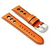 DASSARI M5 Bracelet Rallye pour Montre en Cuir, Orange et Noir, 22mm