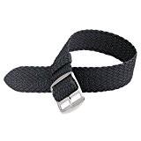 Davis B0310S - Bracelet Montre Perlon Nylon Noir 18mm Haute Qualité
