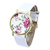 FACILLA® Montre à Quartz Analog Bracelet en Cuir Blanc Cadran Fleur Mode Femme Blanc