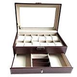 Feibrand PU Présentoir/Coffret/Boîte à Montre 12 Montres en Bois Pour Bracelets et Boutons de Manchette Marron