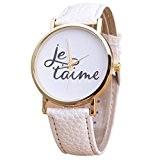 Fulltime(TM) Nouveau Femmes Lettres Français Montres à Quartz 'Je t'aime' Bracelet Blanc en PU Cuir