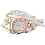Godagoda Femme tisser autour Bracelet en PU Cuir Decor Wrist Watch Blanc