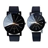 Gossip Boy Lot de 2 montres à quartz homme et femme avec bracelet en cuir et cadran rond
