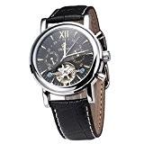 Gute élégant Hommes Cadran noir mécanique automatique montre-bracelet Decor équilibre de roue