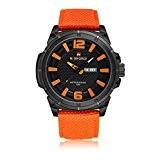 GuTe Montre à quartz analogique avec bracelet en nylon, orange et noir pour homme