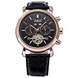 Gute robe hommes Mécanique Automatique de montre-bracelet en or rose cadran noir Montre de luxe