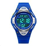 Hiwatch Montre de Sport des Enfants 164 pieds Étanche LED Digital Montres-Bracelet pour Filles Bleu