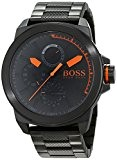 Hugo Boss Orange - 1513157 - Montre Homme - Quartz Analogique - Cadran Noir - Bracelet Acier plaqué Argent