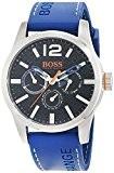 Hugo Boss Orange - 1513250 - Montre Homme - Quartz Analogique - Cadran Noir - Bracelet Silicone Bleu