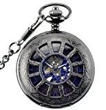 Infinite U Antique Forme de Roue Creux Squelette Bleu Cadran Remontage Manuel Mécanique Montre de Poche en Acier Pendentif Collier ...