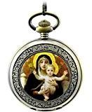 Infinite U Rétro Christianisme la Vierge Marie Chiffres Romains Acier Montre de Poche Mécanique