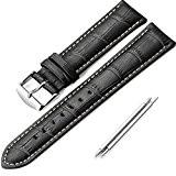istrap 18mm bracelet véritable cuir de veau grain croco marron clair point Tang Boucle–Noir